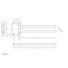 PIET BOON PB450 draaibare handdoekstang 450mm RVS