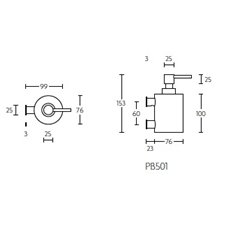 PIET BOON PB501 zeepdispenser wand mat RVS
