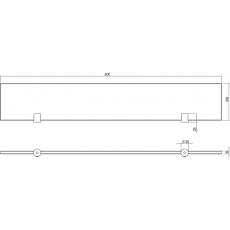 Glazen planchet met dragers mat RVS 600x100x8mm