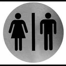 Mediclinics pictogram man/vrouw zelfklevend rond RVS PS0001CS