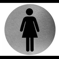 Mediclinics pictogram vrouw zelfklevend rond RVS PS0002CS