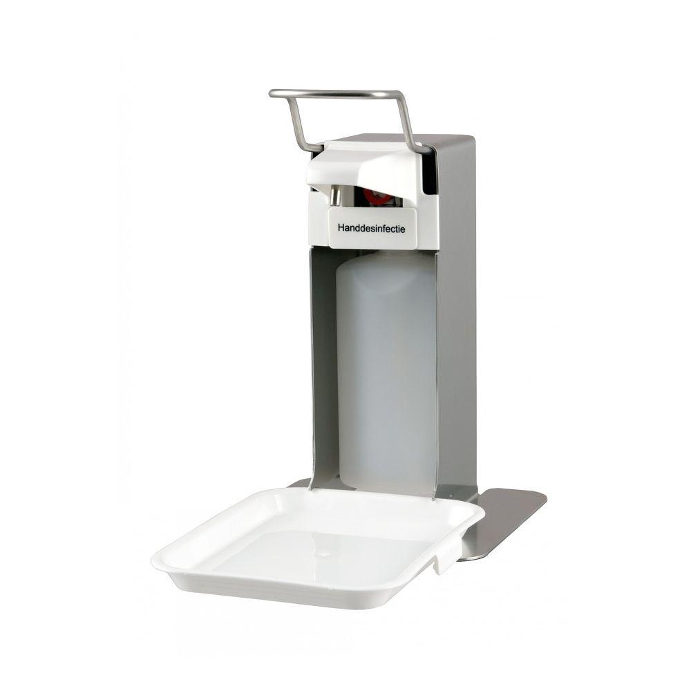 MediQo-line zeep- en desinfectiedispenser 500ml RVS + opvangschaal MQLTD05E