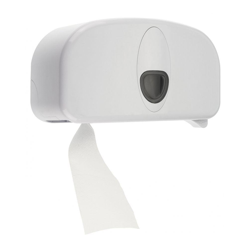 PlastiQline 2020 kunststof 2-rols toiletrolhouder (doprollen) wit - PQ20SDuo
