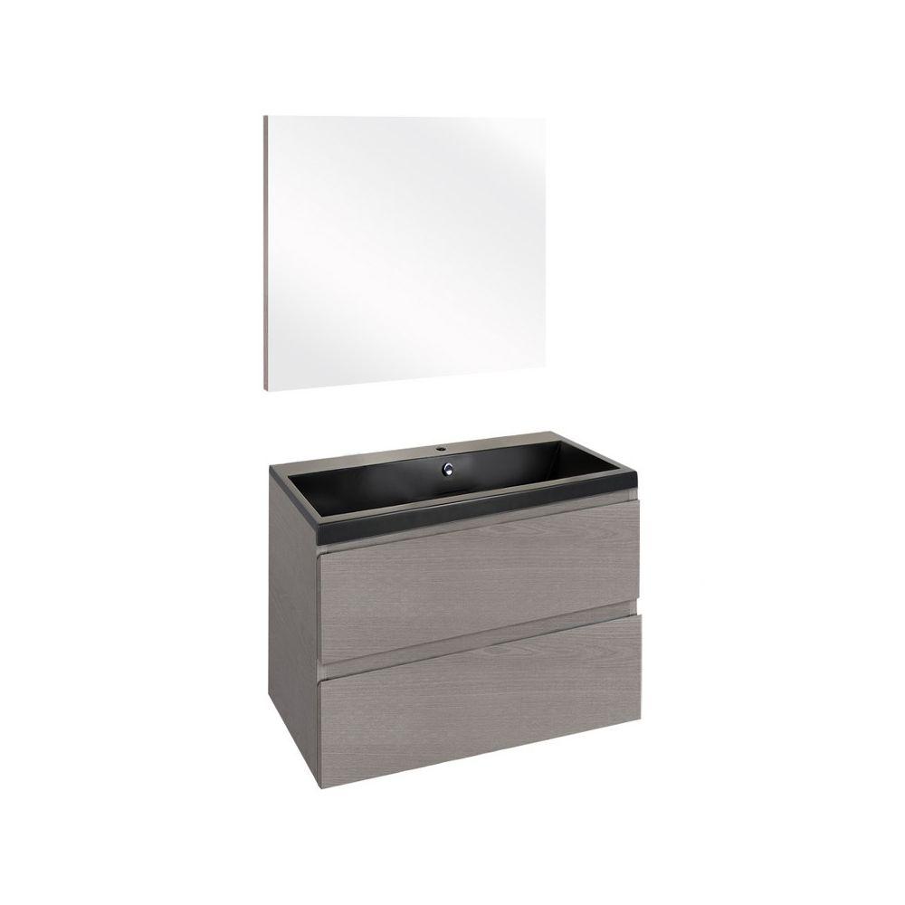 The Collection Concept Badmeubelset met spiegel 60cm - Grijs/Zwart