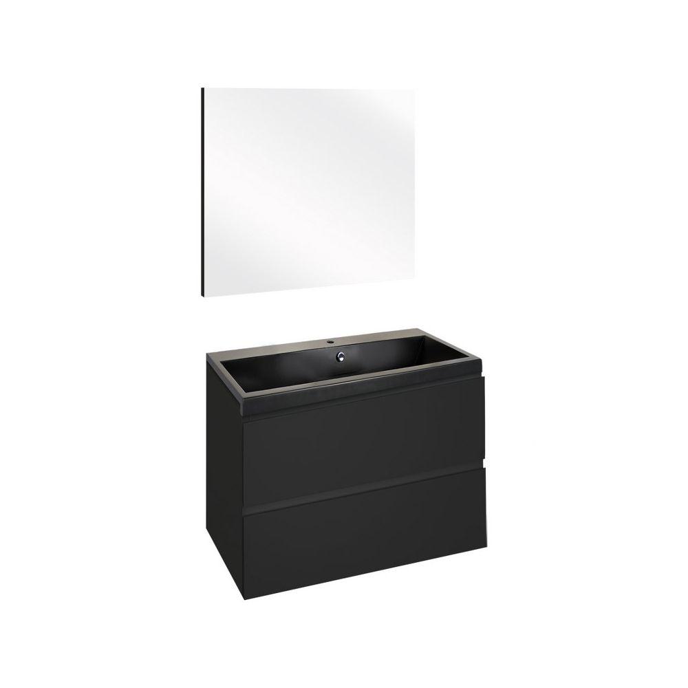 The Collection Concept Badmeubelset met spiegel 60cm - Zwart/Zwart