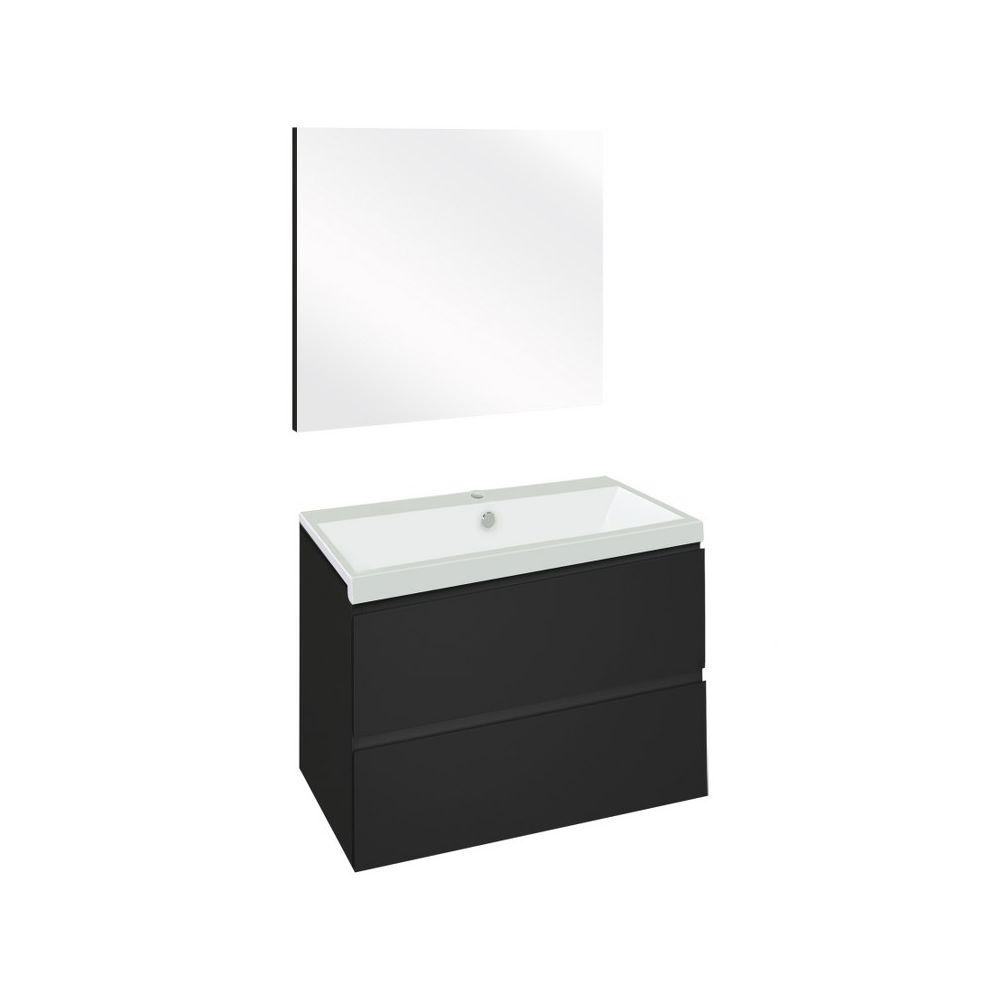 The Collection Concept Badmeubelset met spiegel 60cm - Zwart/Wit