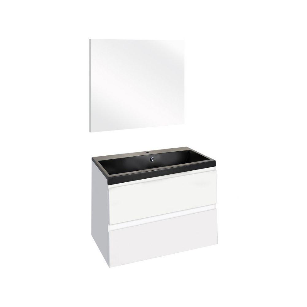 The Collection Concept Badmeubelset met spiegel 60cm - Wit/Zwart