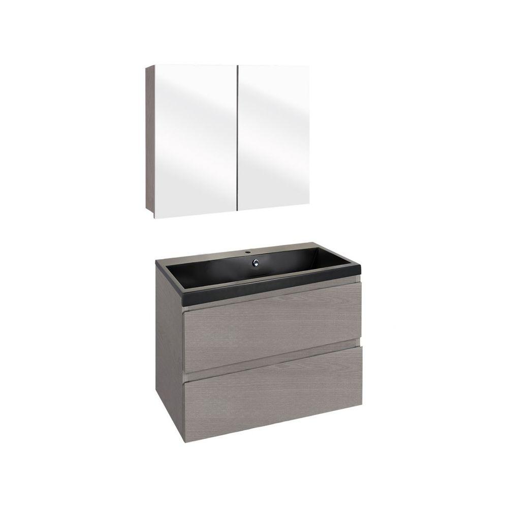 The Collection Concept Badmeubelset met spiegelkast 60cm - Grijs/Zwart