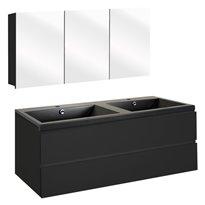 The Collection Concept Badmeubelset met spiegelkast 120cm - Zwart/Zwart