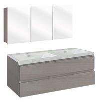 The Collection Concept Badmeubelset met spiegelkast 120cm - Grijs/Wit