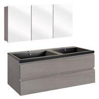 The Collection Concept Badmeubelset met spiegelkast 120cm - Grijs/Zwart