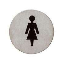 Pictogram zelfklevend rond WC dames RVS