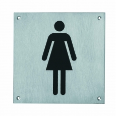 Pictogram groot WC dames RVS